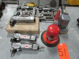 Lot - (7) Assorted Pneumatic Tools: (1) Sunex Model SX203 Dual Action Sander, (1) Ingersoll Rand