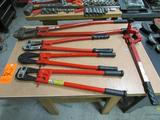Lot - (4) Assorted Bolt Cutters: (1) HIT Model 900 36 in. 5/8 in. Capacity Bolt Cutter, (2) 24 in.
