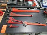 Lot - (6) Assorted Heavy Duty Steel Pipe Wrenches: (1) Ridgid 36 in., (1) Ridgid 24 in.,(1) Ridgid
