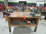 Lot - 6 ft. x 4 ft. Wood Work Station; with (1) 5 in. Columbian Vise, (1) Doerr 7 in. Single End