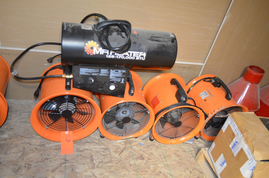 Lot - (4) 12 in. Portable Ventilation Fans, and (1) Propane Heater