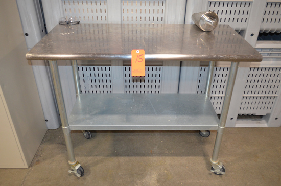 24 in. x 48 in. Stainless Steel Table; with Galvanized Shelf, Legs and Cast
