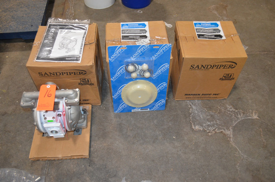 Lot - (3) New Sandpiper Model T1F Pneumatic Diaphragm Pumps