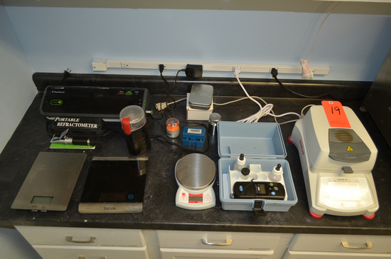 Lot - Lab Equipment, to Include: Ohaus Moisture Analyzer, Assorted Scales,