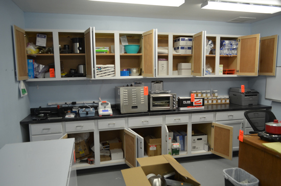 Lot - Assorted Lab Supplies, in Cabinets (Cabinets Not Included)