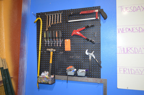 Lot - Hand Tools with Wall Mounted Peg Board Rack