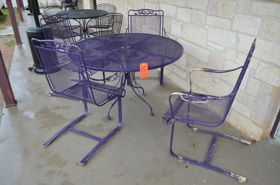 Lot - (5) Patio Tables with (20) Chairs