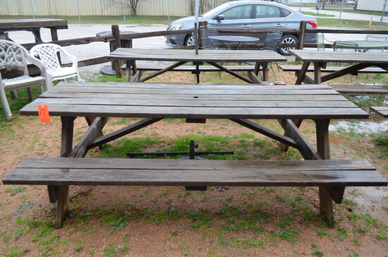 Lot - (2) Picnic Tables with Umbrellas and  Stands