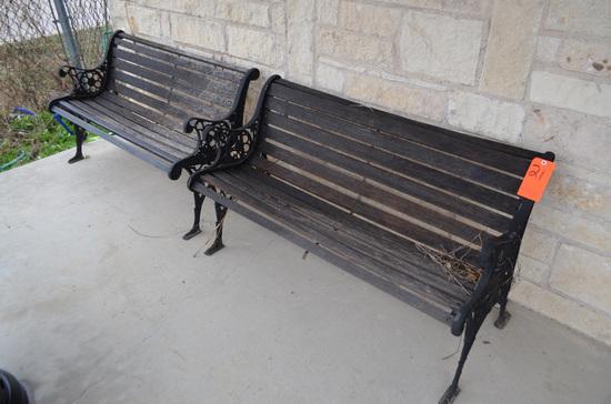 Lot - (2) Wood Slat Benches