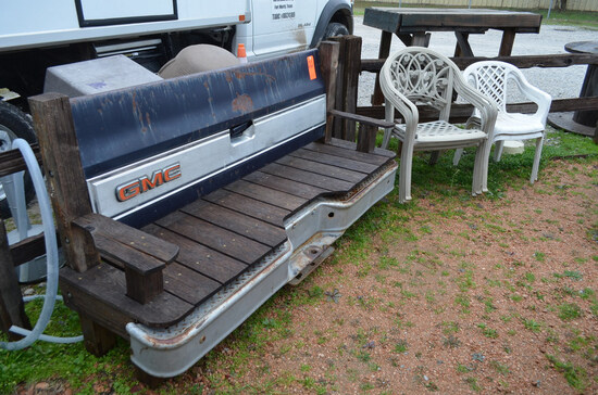 Lot - Custom GMC Bench and (5) Stacking Arm Chairs