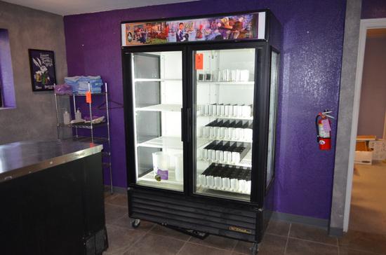 True Model GEM-49 2-Door Lighted Display Cooler, S/N: 7164980