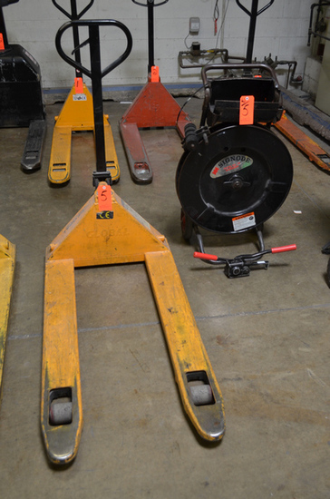 Lot - Pallet Jack and Signode Banding Cart with Tools