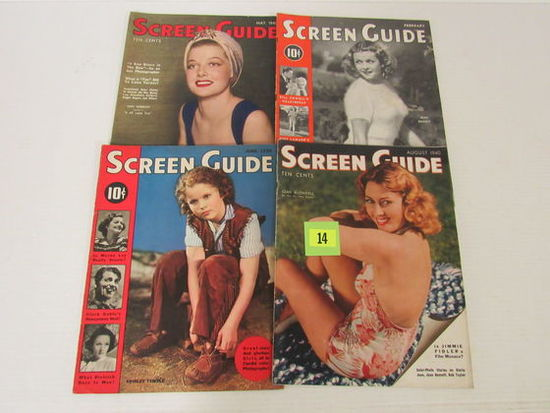 Lot (4) 1930's/40's Screen Guide Oversized Movie Magazines