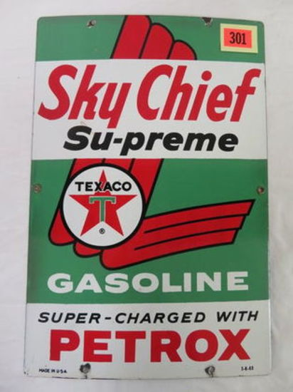 Dated 1963 Texaco Sky Chief Petrox Su-Preme Gas Station Porcelain Pump Plate