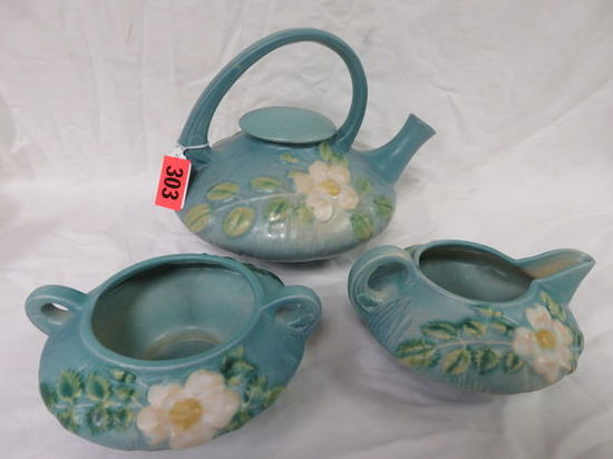 Roseville Pottery White Rose Teapot w/ Cream and Sugar in Blue