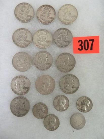 Estate Found Lot of U.S. Coins ($7.75 Face Value) Inc. Franklin Halves and Quarters
