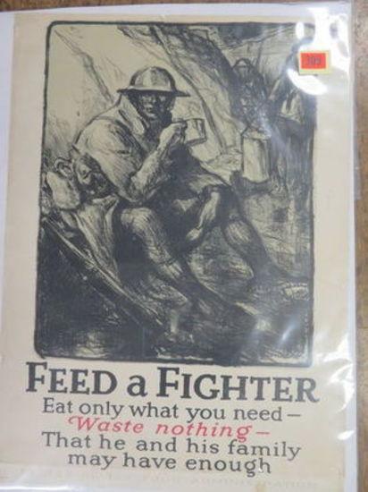 "WWI ""Feed The Fight"" U.S. Military Propaganda Poster 21"" x 29"""