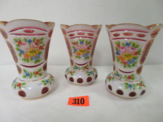 Set of (3) Bohemian Czech White Cut to Cranberry Art Glass Vases
