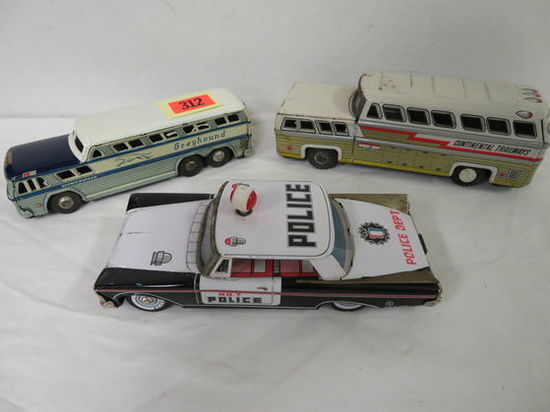 Lot of (3) Vintage Japan Tin Litho Vehicles Inc. Police Car, Greyhound Bus, and Continental Trailway