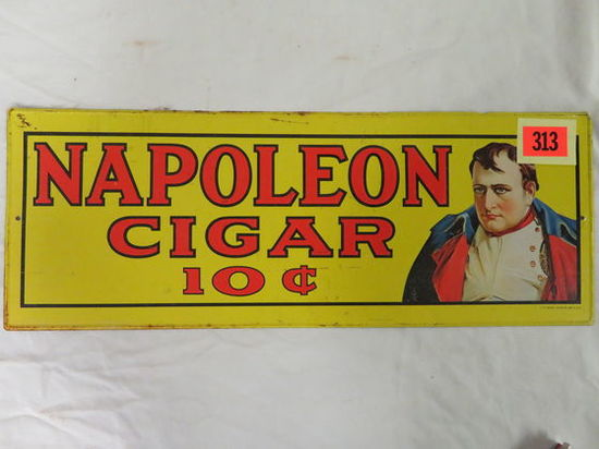 Dated 1974 Napoleon Cigar 10 Cent Tin Tacker Advertising Sign