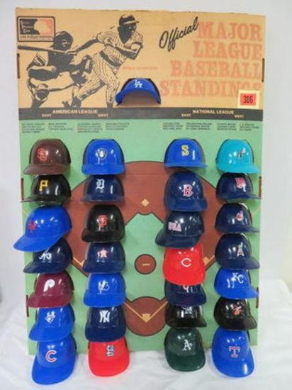 1977 Major League Baseball Mini Helmet Store Display