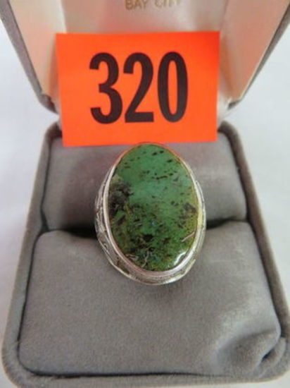 Native American Sterling Silver and Turquoise Men's Ring