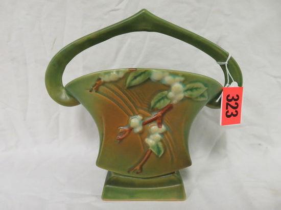 "Roseville Pottery Green Snowberry 7"" Basket (18K-7)"