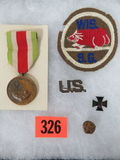 WWI Mexican Service Lot Inc. State Guard Patch, Service Medal and Pins