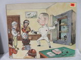 Original 1920s Era Political Cartoon Painting