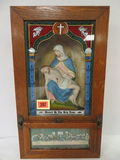 Antique Catholic Last Rite Sick Call Alter Box w/ Plate and Spoon