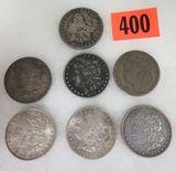 Lot of (7) US Morgan Silver Dollars Inc. 1879, 1880, 1887, 1889, 1890, 1921