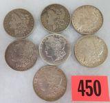Lot of (7) US Morgan Silver Dollars Inc. 1880,1882,1884,1886,1890, 1897, and 1920