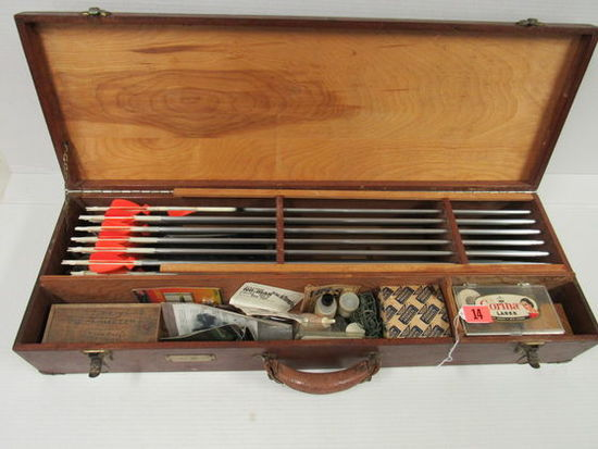 Outstanding Antique Custom Archery Shooter's Box w/ Contents
