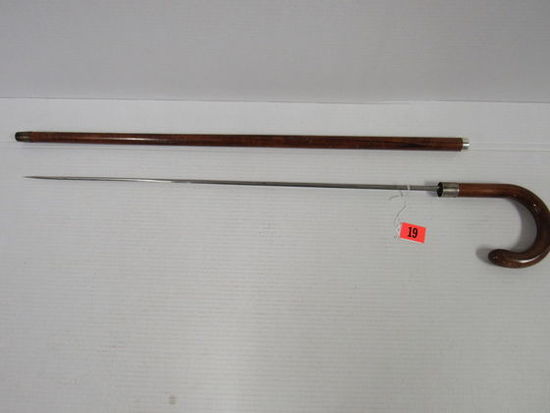 Outstanding Antique Sword Walking Cane w/ JS & S Sterling Accent