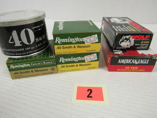 6 Boxes (225 Rds) NOS Factory .40 S&W Ammo