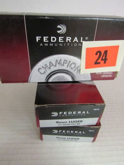 3 Full Boxes (150 Rds) NOS 9mm Luger Ammo