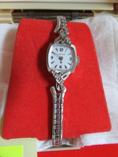 Hamilton 14K White Gold 25 Yr. Oster Corp. Service Award Wrist Watch w/ Orig Box