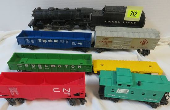 Lionel Train O-Scale Grouping Inc. Steam Locomotive #1110, Tender and (6) Train Cars