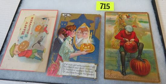 Lot of (3) Early 1900s Halloween Postcards