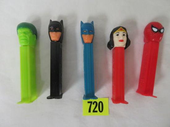 Lot of (5) Vintage Superhero Pez Dispensers Inc. Hulk, Batman, Spiderman, Wonder Woman