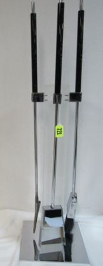 1970s Modernist Chrome and Lucite Fireplace Tool Set By Artist Allessandro Albrizzi