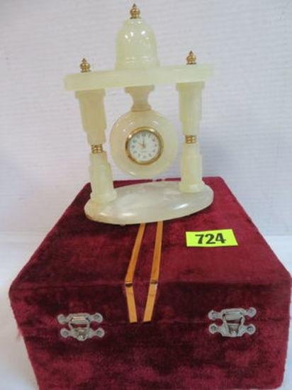 Beautiful Agate Quartz Clock in Velvet Box