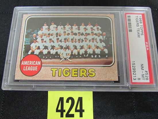 1968 Topps #528 Detroit Tigers Team Card (championship Yr) Psa 8
