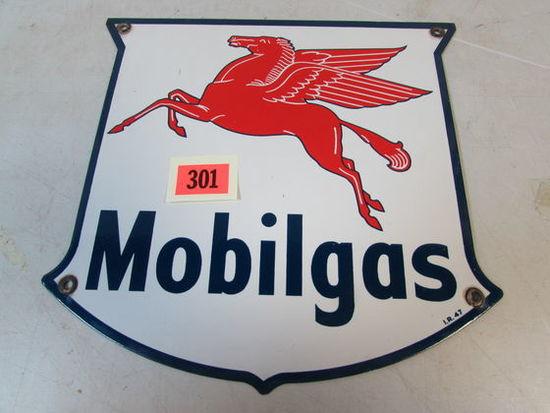 """Original 1947 Dated Mobil Pegasus Porcelain Pump Plate Sign 12 x 12"""""""