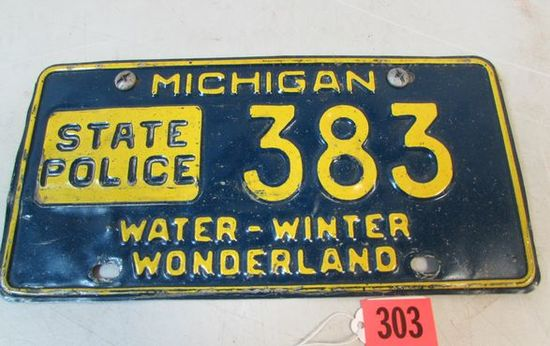 Rare Vintage 1960's Michigan State Police License Plate