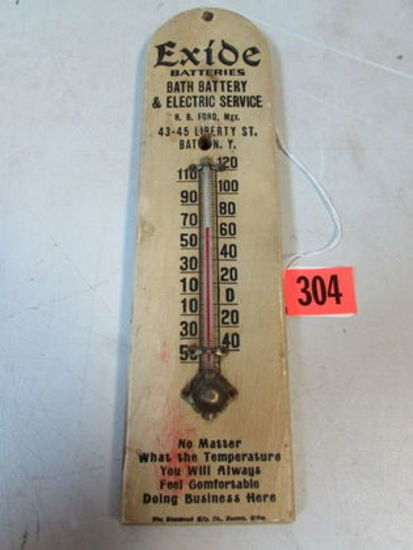 """Antique Exide Batteries 12"""" Wooden Advertising Thermometer"""
