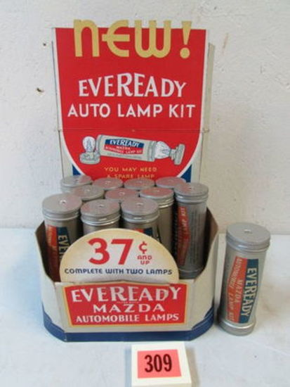 Beautiful Antique Eveready Auto Lamp Kit/ Mazda Store Display