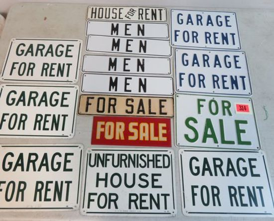 Grouping of (15) Vintage 1960s For Sale, For Rent and Other Metal Signs