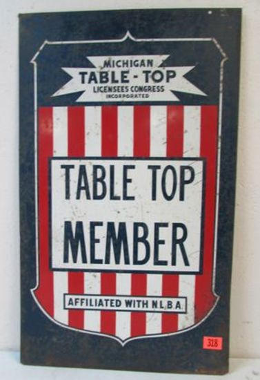 """Antique Michigan Table Top Member Dbl. Sided Steel Sign 18 x 30"""""""