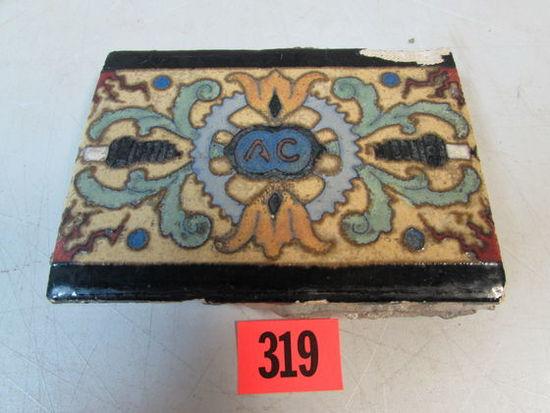Antique AC Spark Plugs Plant Tile by Flint Faience
